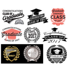 Graduation set class of 2017 congrats grad vector