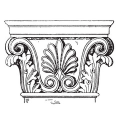 Greek-corinthian pilaster capital supports vector