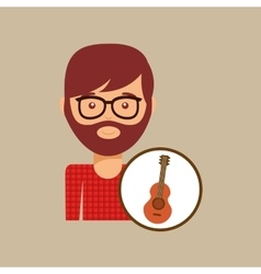 guitar retro music hipster man vector image