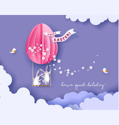 happy easter card with bunny flowers and egg vector image
