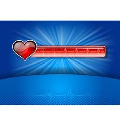 Heart cardiogram on blue background vector