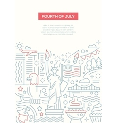 Independence Day - line design brochure poster vector image