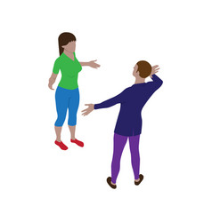 Isometric scene man and woman who are talking vector