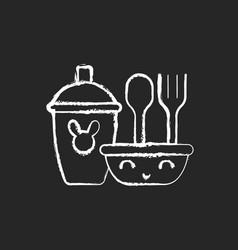 Kids dinnerware chalk white icon on dark vector