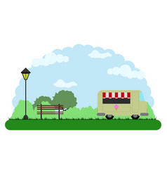 Landscape of a park with a food truck vector