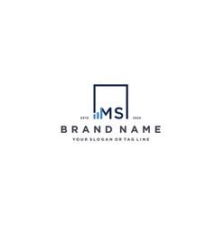 Letter ms square logo finance design vector