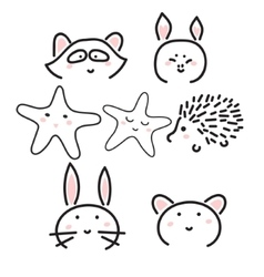 Line animal icons with cute faces vector image