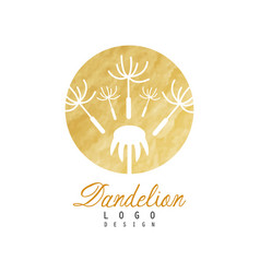 Luxury logo design of dandelion with flying fluffy vector