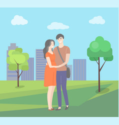 man and woman standing together in citypark vector image