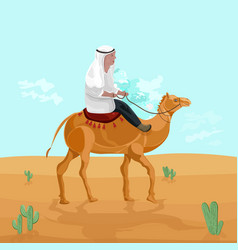 Man riding on a camel in egypt desert vector