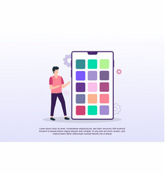 mobile application concept with tiny people can vector image