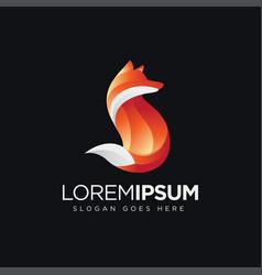 modern geometric red fox logo icon vector image