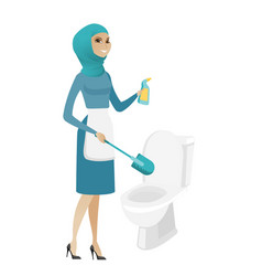 Muslim cleaner in uniform cleaning toilet bowl vector