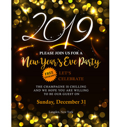 new year 2019 invitation vector image