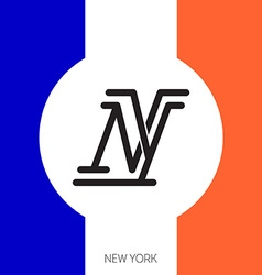 New York City Original lettering with flag colors vector image