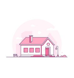 nice house - modern thin line design style vector image