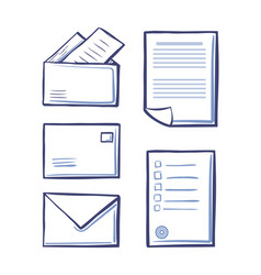 office messages and envelopes with pages vector image