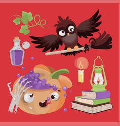 owl halloween pumpkin potion cartoon vector image