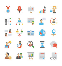 pack of human resource flat icon vector image