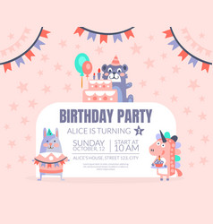 Pink invitation with background stars for a vector