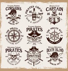 pirates set emblems labels badges vector image