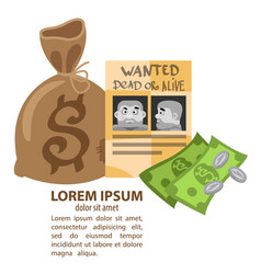 poster wanted criminals and a bag of money vector image