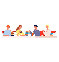reading club young people meeting cafe with books vector image