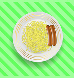 realistic boiled sausages with spaghetti vector image