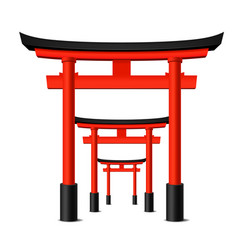 Realistic detailed 3d japanese tori gate set vector