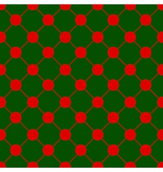 Red Polka dot Chess Board Grid Green Background vector