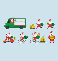 santa claus delivery service concept vector image