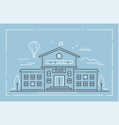 school building - modern line design style vector image