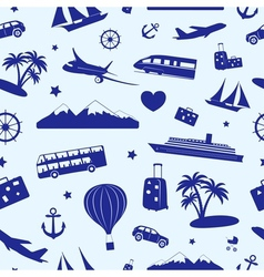 Seamless monochrome pattern on travel and tourism vector