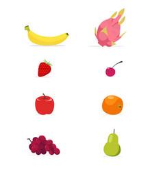 set of flat fruits isolated white background vector image
