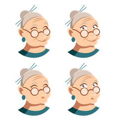 Set of grandmother face icons vector