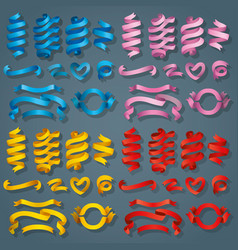 set of realistic color ribbons element of vector image
