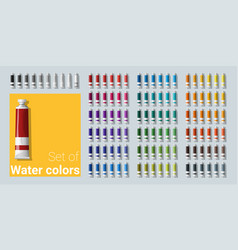 Set of water color tubes vector