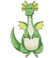 simple cartoon character green dragon isolated vector image