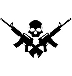 skull two rifles vector image