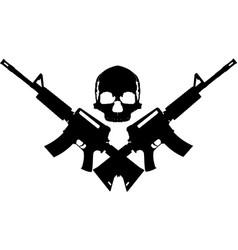 Skull two rifles vector