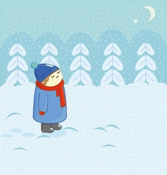 Snow and child vector