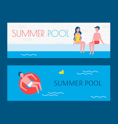 Summer pool set of posters vector