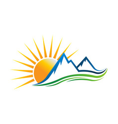 sun mountains logo vector image
