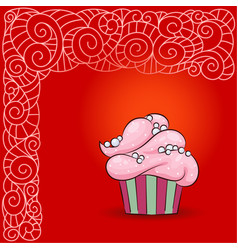 sweet cupcake with pink cream pearls vector image