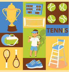 tennis seamless pattern player man character vector image