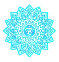Vishuddha or vishuddhi throat fifth chakra blue vector