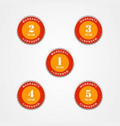 Warranty guarantee label set 1 to 5 year vector