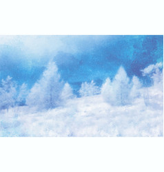 Watercolor winter landscape on white vector
