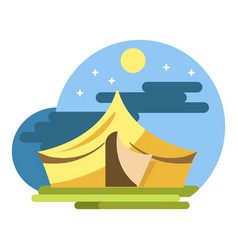 Yellow camping tent under night sky flat vector