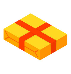 yellow packed gift box icon isometric style vector image